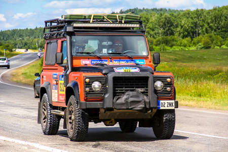 defender: CHELYABINSK REGION, RUSSIA - JULY 11, 2016: Assistance car Land Rover Defender No. 822 takes part in the annual Rally Silkway - Dakar Series. Editorial