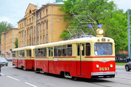 SAINT PETERSBURG, RUSSIA - MAY 26: Vintage russian tramway LM-49 takes part at the Retro Urban Transport Parade on May 26, 2013 in Saint Petersburg, Russia.