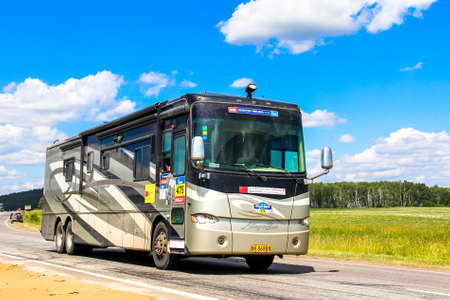 allegro: CHELYABINSK REGION, RUSSIA - JULY 11, 2016: Assistance motorhome Tiffin Allegro Bus No. 475 takes part in the annual Rally Silkway - Dakar Series. Editorial