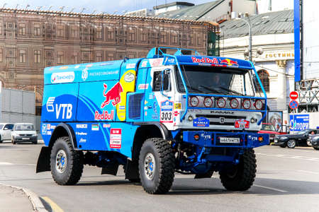 turns of the year: MOSCOW, RUSSIA - JULY 7, 2012: Eduard Nikolaevs KAMAZ 4326 No. 303 of the Team Kamaz Master in the city street during the annual Silkway Rally - Dakar series.