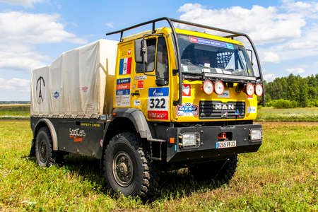 CHELYABINSK REGION, RUSSIA - JULY 11, 2016: Sports truck MAN M2000 of the Team Sodicars No. 322 competes in the annual Rally Silkway - Dakar Series.