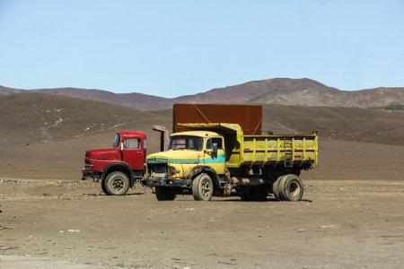 lifeless: ATACAMA, CHILE - NOVEMBER 14, 2015: Abandoned trucks Mercedes-Benz 1920 in the lifeless Atacama Desert. Editorial