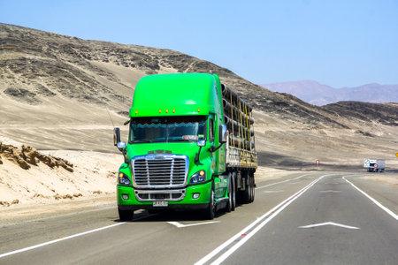 freightliner: ATACAMA, CHILE - NOVEMBER 14, 2015: Semi-trailer truck Freightliner Cascadia at the road through the Atacama desert (Ruta del Desierto). Editorial