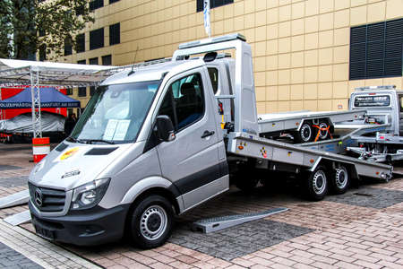 rescue service: FRANKFURT AM MAIN, GERMANY - SEPTEMBER 14, 2013: Grey rescue service truck Mercedes-Benz Sprinter in the city street.