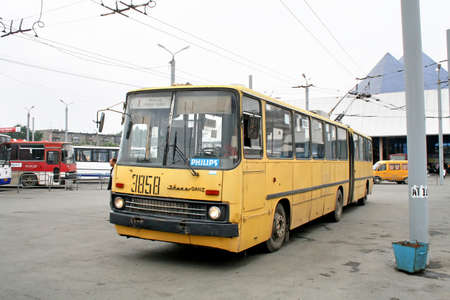 chelyabinsk: CHELYABINSK, RUSSIA - JULY 2, 2008: Old articulated city trolleybus Ikarus-Ganz 280T at the city street.