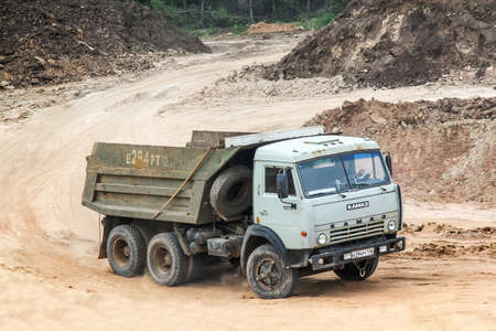sand quarry: TATARSTAN, RUSSIA - MAY 20, 2013: Dump truck KamAZ 55111 in the sand quarry. Editorial