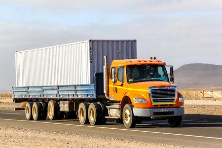 freightliner: ATACAMA, CHILE - NOVEMBER 18, 2015: Semi-trailer truck Freightliner Business Class at the Pan-American Highway through the Atacama desert.