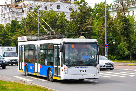 megapolis: MOSCOW, RUSSIA - JULY 7, 2012: Modern russian trolleybus Trolza 5265 Megapolis in the city street.