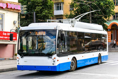 megapolis: CHEBOKSARY, RUSSIA - JULY 20, 2014: Modern russian trolleybus Trolza 5265 Megapolis at the city street.