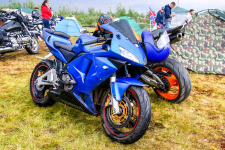 NOVYY URENGOY, RUSSIA - JUNE 25, 2016: Sport motorcycles Honda CBR-series at the countryside.