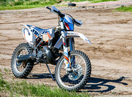 NOVYY URENGOY, RUSSIA - JUNE 18, 2016: Endurocross bike KTM at the countryside.
