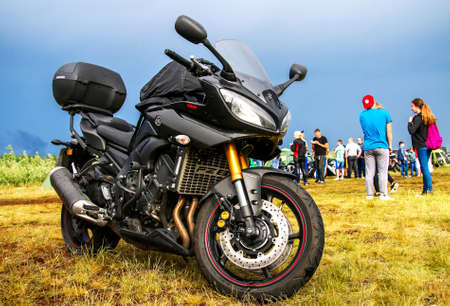 NOVYY URENGOY, RUSSIA - JUNE 25, 2016: Sport motorcycle Yamaha YZF-R1 at the countryside.