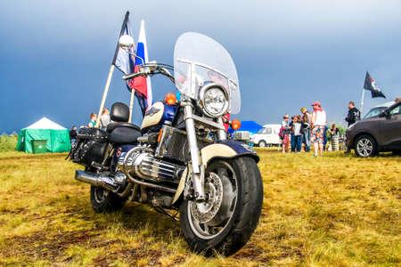 NOVYY URENGOY, RUSSIA - JUNE 25, 2016: Motorcycle Honda Valkyrie F6 at the countryside.