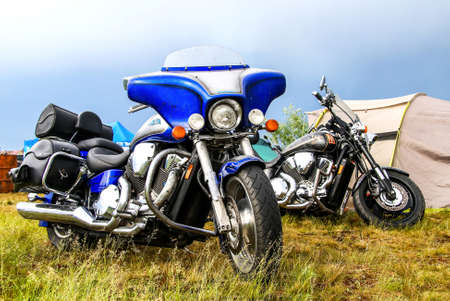 june 25: NOVYY URENGOY, RUSSIA - JUNE 25, 2016: Motorcycle Honda at the countryside.