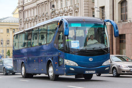 intercity: MOSCOW, RUSSIA - JUNE 2, 2013: Blue intercity coach bus Yutong ZK6119HA in the city street. Editorial