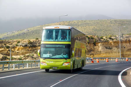 intercity: ATACAMA, CHILE - NOVEMBER 13, 2015: Intercity coach Modasa Zeus at the interurban freeway.
