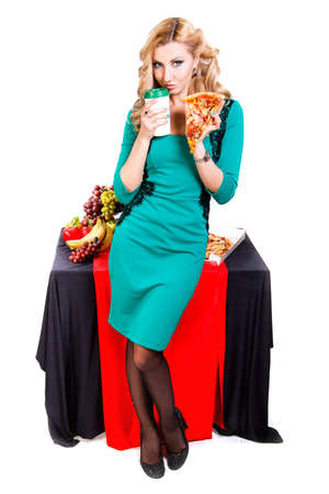 Eating young woman. Gluttony (Gula) is one of Seven Deadly Sins. Stock Photo