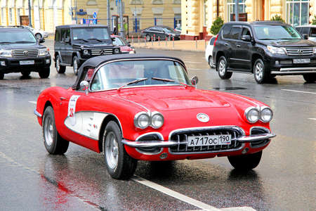 corvette: MOSCOW, RUSSIA - JUNE 3, 2012: American motor car Chevrolet Corvette competes at the annual L.U.C. Chopard Classic Weekend Rally.