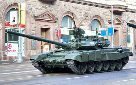 battle tank: MOSCOW, RUSSIA - MAY 6: Main battle tank T-90 Vladimir exhibited at the annual Victory day Parade dress rehearsal on May 6, 2012 in Moscow, Russia.