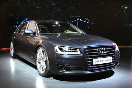 WOLFSBURG, GERMANY - AUGUST 14, 2014: German car Audi A8 at the museum of the Volkswagen Autostadt.