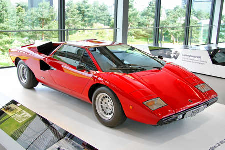 WOLFSBURG, GERMANY - AUGUST 14, 2014: Italian retro supercar Lamborghini Countach at the museum of the Volkswagen Autostadt.