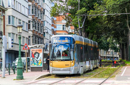 tramway: BRUSSELS, BELGIUM - AUGUST 9, 2014: Passenger tramway Bombardier T3000 in the city street.