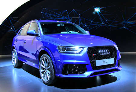 WOLFSBURG, GERMANY - AUGUST 14, 2014: German car Audi RS Q3 at the museum of the Volkswagen Autostadt.