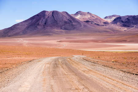 Road through the Atacama desert in Chile Stock Photo
