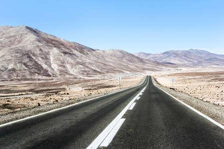ruta: Asphalted road through the Atacama desert (Ruta del Desierto)