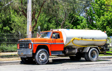 SANTIAGO, CHILE - NOVEMBER 12, 2015: Old truck Ford F-series in the city street.