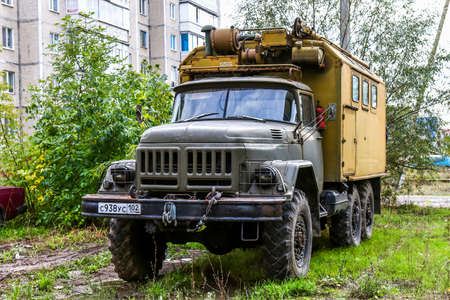 utilitarian: ASHA, RUSSIA - SEPTEMBER 22, 2016: Soviet military truck ZIL 131 in the city street.