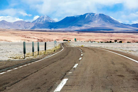 Asphalted road through the Atacama desert (Ruta del Desierto)