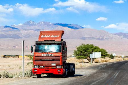 SAN PEDRO DE ATACAMA, CHILE - NOVEMBER 15, 2015: Semi-trailer truck Scania R at the roadside. Editorial