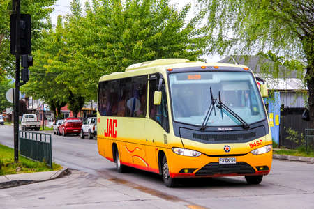 VILLARRICA, CHILE - NOVEMBER 20, 2015: Small city bus Marcopolo Senior in the town street. Editorial