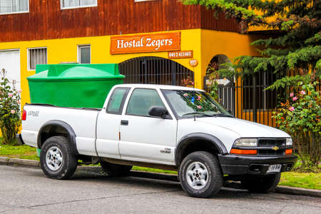 affordable: VILLARRICA, CHILE - NOVEMBER 20, 2015: Pickup truck Chevrolet S10 in the town street.