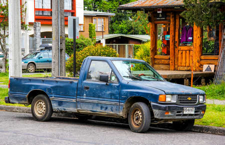 PUCON, CHILE - NOVEMBER 20, 2015: Pickup truck Chevrolet LUV in the town street.