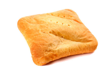 warm things: Potato filled pirozhok isolated over white background