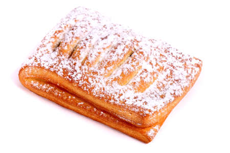 Jam filled puff pastry strudel isolated over white background