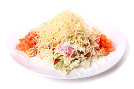 Salad of cheese and shrimps isolated over white background