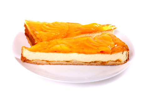 Peach tart isolated over white background