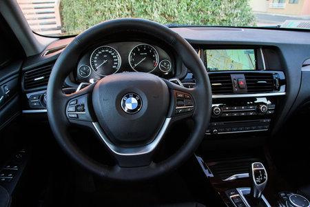 CALAMA, CHILE - NOVEMBER 17, 2015: Interior of the modern luxury car BMW F26 X4.