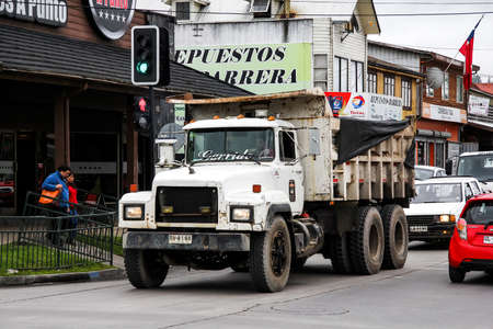 mack: VILLARRICA, CHILE - NOVEMBER 20, 2015: Dump truck Mack RD in the town street. Editorial