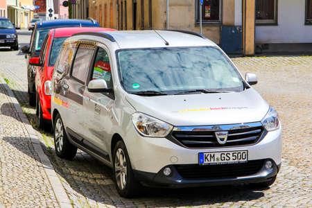 KOENIGSBRUECK, GERMANY - JULY 20, 2014: Motor car Dacia Lodgy in the city street.