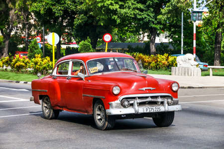 HAVANA, CUBA - JUNE 6, 2017: Motor car Chevrolet Bel Air in the city street.