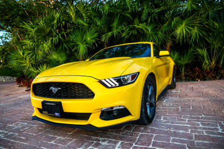 QUINTANA ROO, MEXICO - MAY 16, 2017: Yellow muscle car Ford Mustang at the countryside.