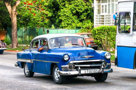 HAVANA, CUBA - JUNE 6, 2017: Motor car Chevrolet Bel Air in the city street.