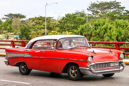 bel air: HAVANA, CUBA - JUNE 6, 2017: Motor car Chevrolet Bel Air in the city street.