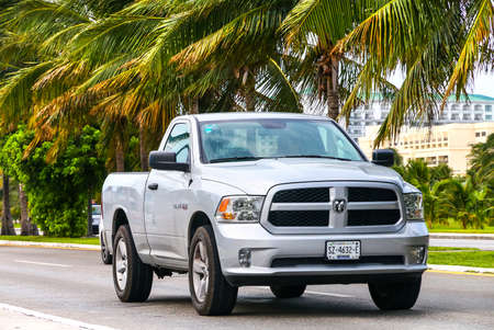 CANCUN, MEXICO - JUNE 4, 2017: Grey pickup truck Dodge Ram in the city street.