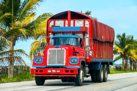 CAMPECHE, MEXICO - JUNE 2, 2017: Bright red truck Dina D-600 at the interurban road.