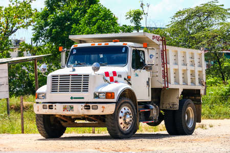 PALENQUE, MEXICO - MAY 22, 2017: Dump truck International 4700 in the city street.